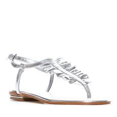 Kožené sandálky Michael Kors Bella Ruffled Metallic Leather Sandal