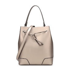 Kožená kabelka Furla Stacy Bucket M bronzo