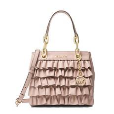 Kabelka Michael Kors Cynthia Small Ruffled Leather Satchel soft pink
