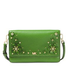 Kabelka Michael Kors Floral Embellished Pebbled Leather Convertible Crossbody true green