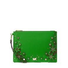 Kabelka Michael Kors Medium Floral Embellished Pebbled Leather Pouch true green