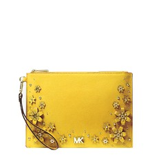 Kabelka Michael Kors Medium Floral Embellished Pebbled Leather Pouch sunflower