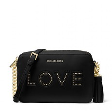 Kabelka Michael Kors Ginny Love Leather Crossbody černá