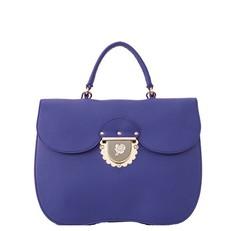 Kožená kabelka Furla Ducale Satchel M blue pavone