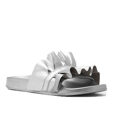 Obuv nazouváky Michael Kors Bella Ruffled Metallic Leather Slide